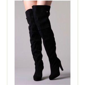 KELSI DAGGER Black suede thigh high heeled boots